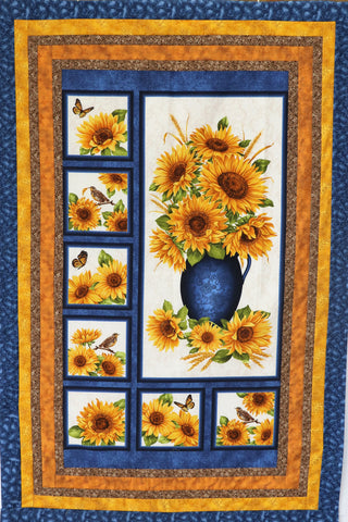 Blue Vase Sunflowers