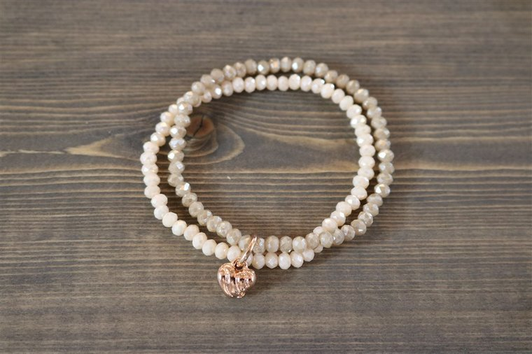 BRACELET DOUBLE PINK/TAUPE RG WITH CHARM HEART