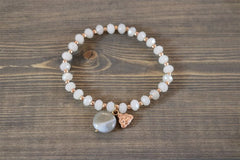 BRACELET GREY OPAL RG WITH BUDDHA AND GREY STONE