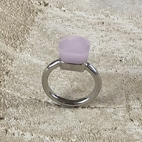 RING LIVORNO SILVER PINK OPAL STONE S56