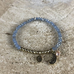 BRACELET BLUE GOLD WITH MELON AND PINK FRESH WATER PEARL