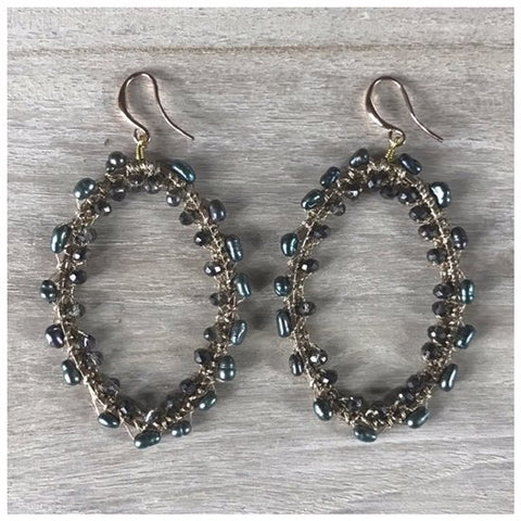 EARRING NOAH MOTHER OF PEARL DARK GREY
