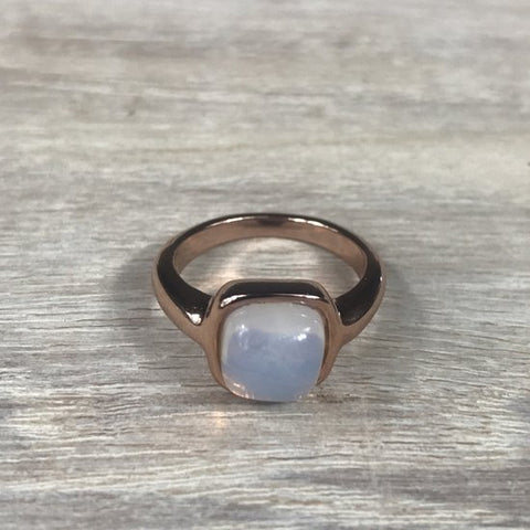 RING FIRENZE RG WHITE OPAL STONE S56