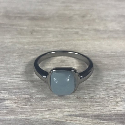 RING FIRENZE SILVER BLUE PURPLE OPAL STONE S56