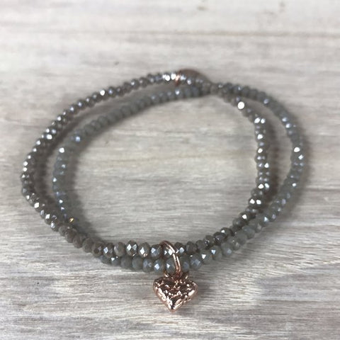 BRACELET SHINY GREY W/SMALL RG HEART CHARM