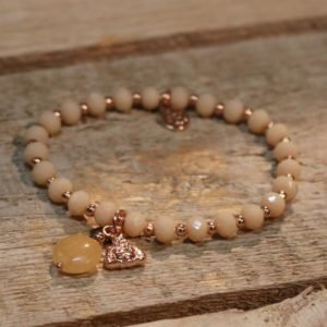 BRACELET PINK RG W/BUDHA CHARM AND BROWN