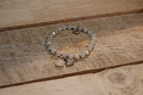 BRACELET WHITE RG W/BUDHA CHARM AND WHITE STONE