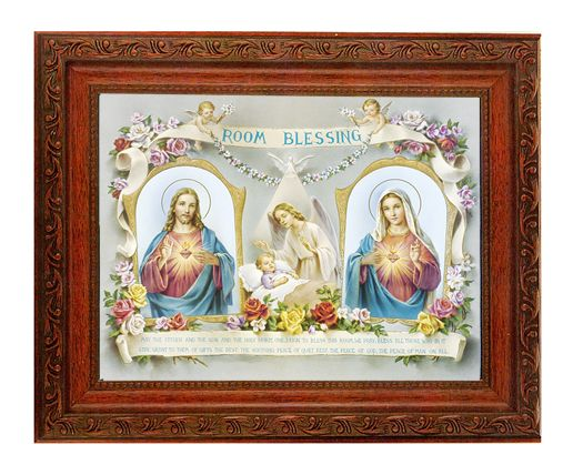 Baby Room Blessing 8x10 Ornate Wood Mahogany