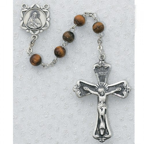 Genuine Tiger Eye Rosary 6mm - St. Benedict's Catholic Store