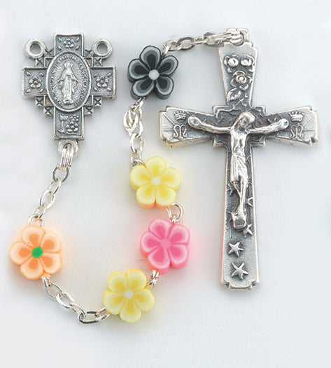 8mm Floral Shape Multi Color Rosary