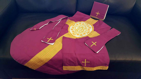 Child's Mini Fiddleback Vestment Set Burgundy IHS Design Age 7-9 - St. Benedict's Catholic Store