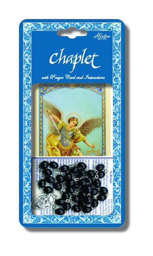 St Michael Deluxe Chaplet with Black Wood Beads - St. Benedict's Catholic Store