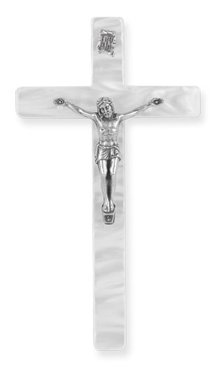"7"" White Pearl Baby Crucifix"