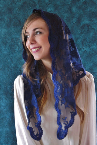 Medium Soft Tulle Triangle Medieval Blue Mantilla Veil - St. Benedict's Catholic Store