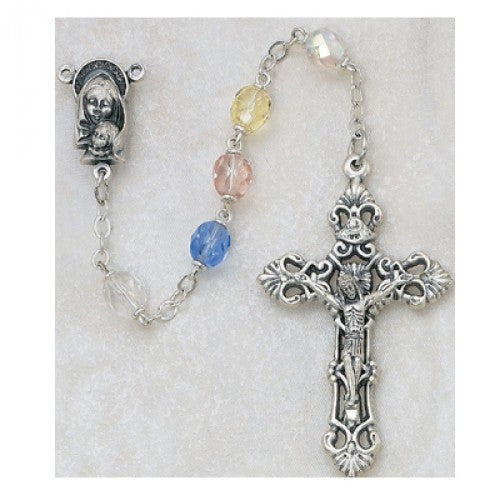 7mm Multicolor Glass Rosary - St. Benedict's Catholic Store
