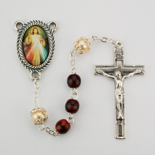 6mm Red Divine Mercy Rosary - St. Benedict's Catholic Store