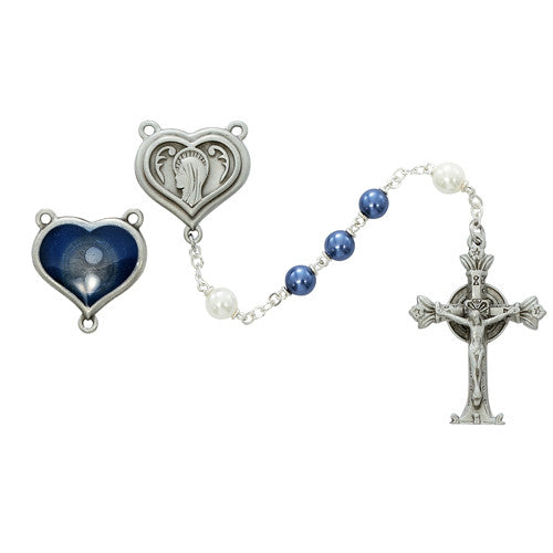 Lourdes Blue & Pearl Rosary 7mm Pewter w/Holy Water. - St. Benedict's Catholic Store