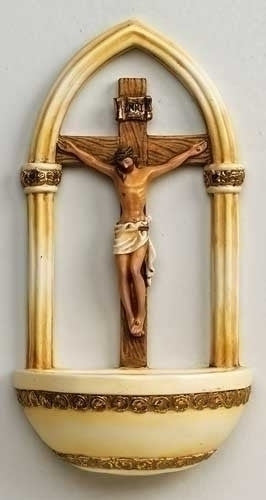 "7"" Crucifix Holy Water Font - St. Benedict's Catholic Store"