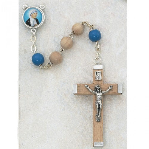 6mm Olive Wood Mother Teresa Rosary - St. Benedict's Catholic Store