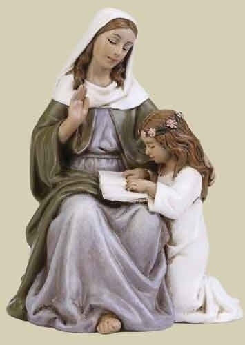 "4"" St Anne Statue - St. Benedict's Catholic Store"
