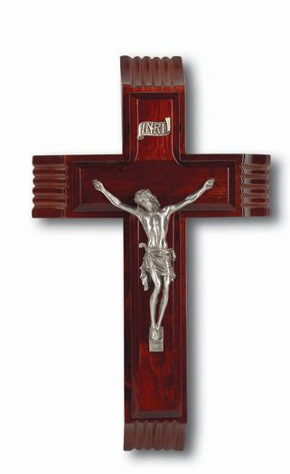 "10"" Dark Cherry Sick Call Crucifix - St. Benedict's Catholic Store"