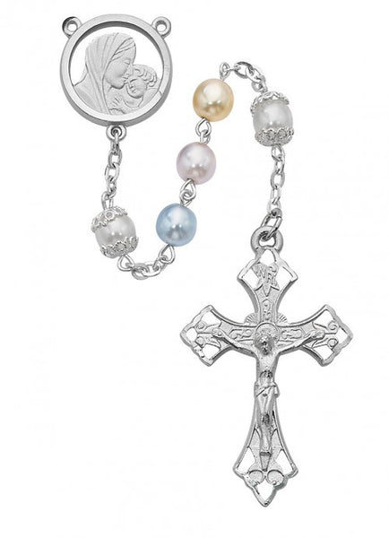 Multicolor Pearl Rosary 7mm - St. Benedict's Catholic Store