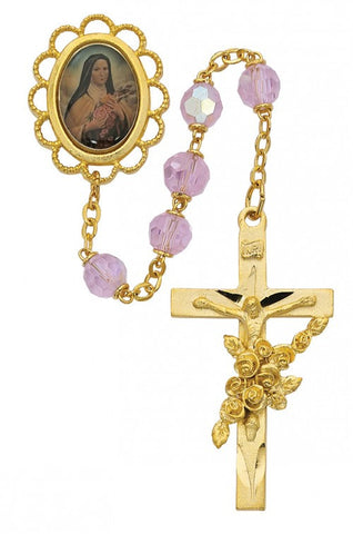 7mm Gold Rose St Therese Rosary - St. Benedict's Catholic Store