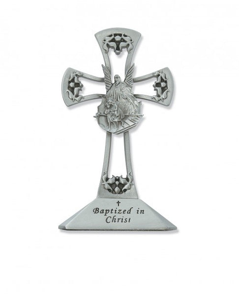"4"" Pewter Standing Baptism Cross - St. Benedict's Catholic Store"