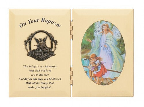 Double Guardian Angel Baptism Frame - St. Benedict's Catholic Store