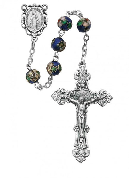Blue Real Cloisonne Rosary 7mm