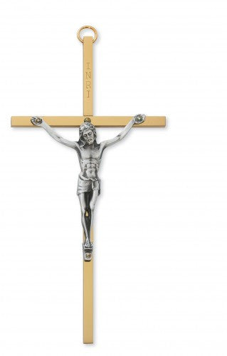 "6"" Brass Crucifix - St. Benedict's Catholic Store"