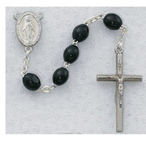 3x5mm Black Wood Rosary - St. Benedict's Catholic Store