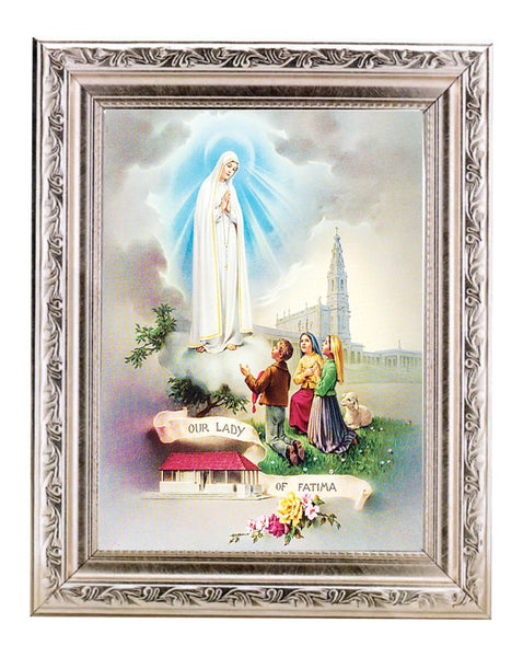 Our Lady Fatima 6x8 Silver Ornate Wood Frame