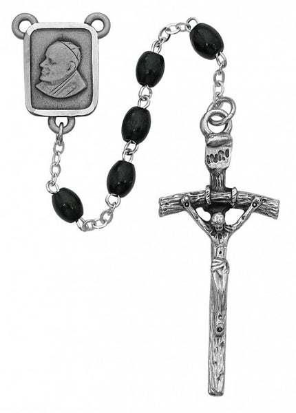 4x6mm Black Wood Papal Rosary - St. Benedict's Catholic Store
