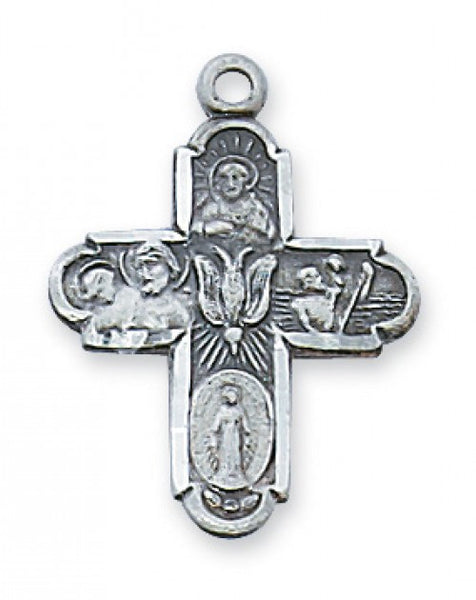"Antique Pewter 4-Way Cross with 18"" chain - St. Benedict's Catholic Store"