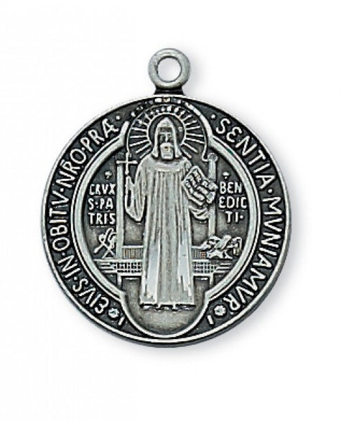 Antique Silver St. Benedict Medal 5/8""