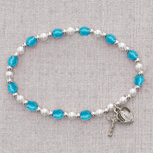 Aqua/March Stretch Bracelet - St. Benedict's Catholic Store