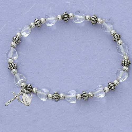 Crystal Heart Stretch Bracelet - St. Benedict's Catholic Store