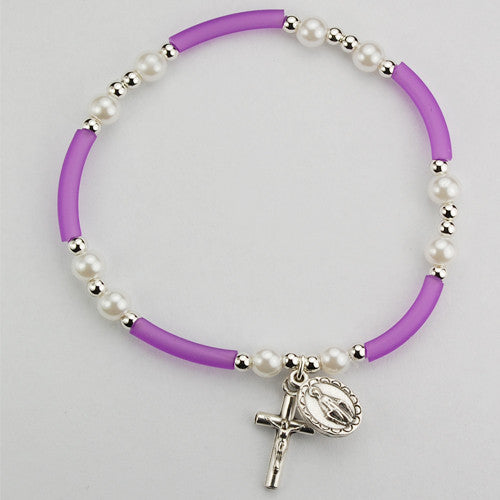 Purple & Pearl Rubber Bracelet