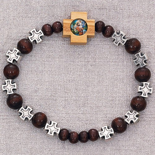 St Christopher Wood Bracelet - St. Benedict's Catholic Store