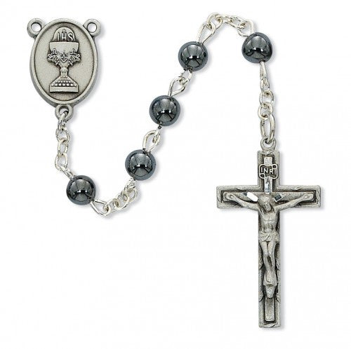 Hematite Communion Rosary 6mm - St. Benedict's Catholic Store
