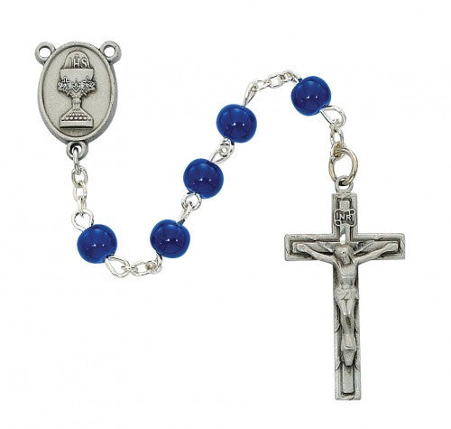 Blue Communion Rosary 6mm - St. Benedict's Catholic Store