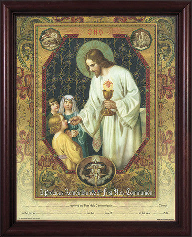 Christ Living Bread First Communion Cert 11x14 Cherry Frame - St. Benedict's Catholic Store