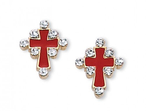 Red Enamel & Crystal Cross Earrings - St. Benedict's Catholic Store