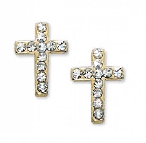 Small Crystal Cross Earrings - St. Benedict's Catholic Store