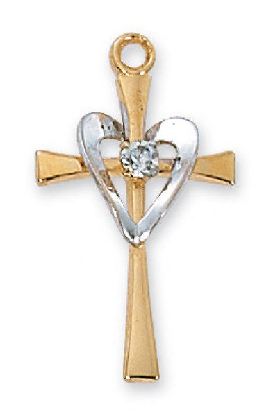 G/SS Cross w/Sil Heart - St. Benedict's Catholic Store