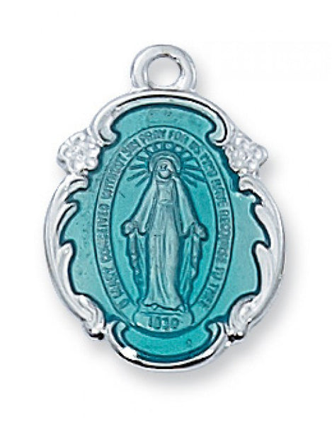 "Miraculous Medal Blue SS 3/4"" x 1/2"" - St. Benedict's Catholic Store"