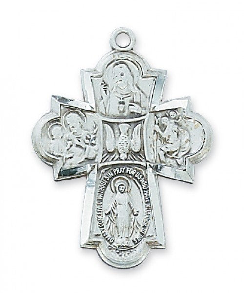 "4-Way Cross SS 1 1/4"" x 7/8"" - St. Benedict's Catholic Store"