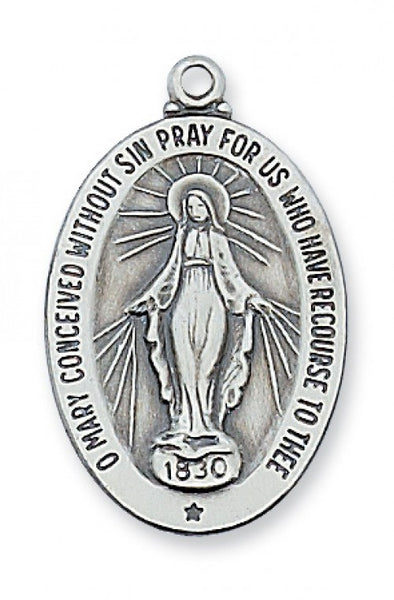 "Miraculous Medal SS 1"" x 5/8"" - St. Benedict's Catholic Store"