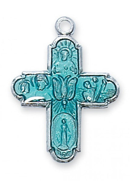 "Blue 4-Way Cross Medal SS 3/4"" - St. Benedict's Catholic Store"